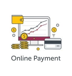 Set of flat thin line icons e-commerce or payment vector