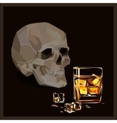 Skull glass of whiskey and icecubes vector