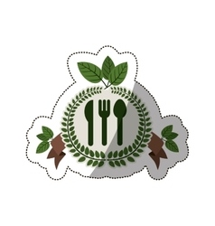 Sticker crown of leaves with silverware and label vector