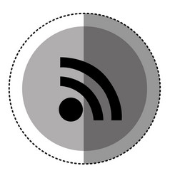 sticker monochrome circular emblem with wifi icon vector image