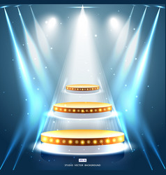studio background with lighting and gold podium vector image vector image