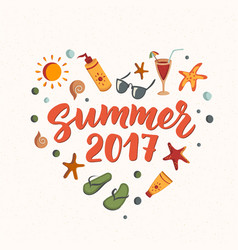 summer 2017 text with beach elements sunscreen vector image vector image