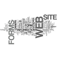 The power of web forms text background word cloud vector