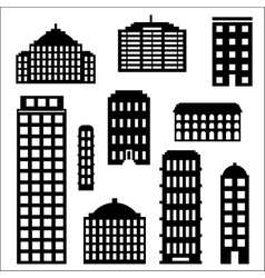 Urban building silhouette set vector