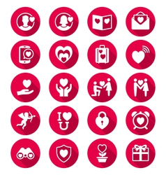 Valentines day flat color icons vector