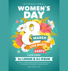 Womens day party flyer vector