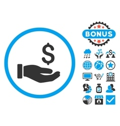 Earnings hand flat icon with bonus vector