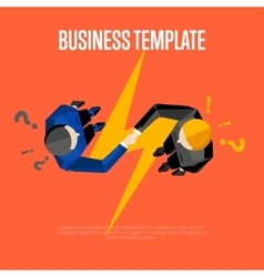Business template top view partners handshaking vector