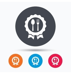 Award medal icon food winner emblem sign vector