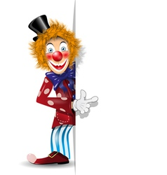 Cheerful clown and white background vector