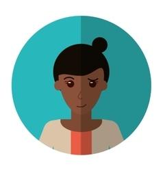 Afro woman bun hair sweater casual shadow vector