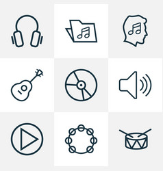 Audio outlines set collection of barrel template vector