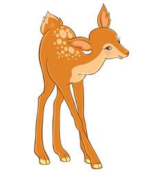 The cartoon cute young deer vector