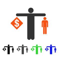 Money vs man flat icon vector