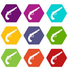 gun icon set color hexahedron vector image