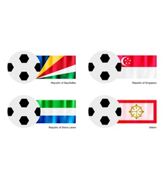 Soccer ball with seychelles singapore flag vector