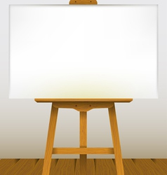 Easel with a blank canvas on a wooden floor vector
