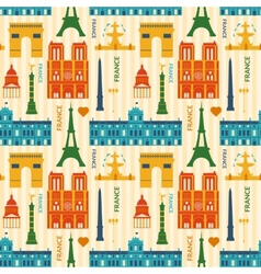 Landmarks of france colorful seamless pattern vector