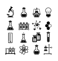 Chemistry icons set black vector