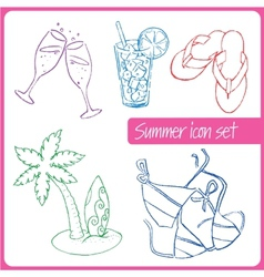 Set of hand drawn summer vacation icons vector