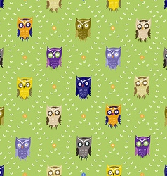 Pattern with cute owls vector image