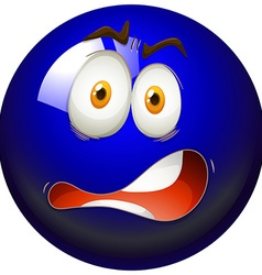 Facial expression on blue ball vector