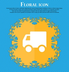 Delivery truck floral flat design on a blue vector