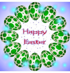 Easter eggs circle green circles vector