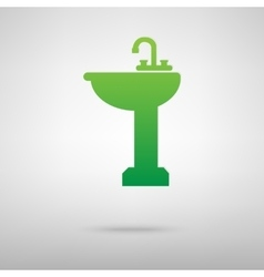 Bathroom sink green icon vector