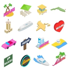 Miami icons set isometric 3d style vector