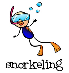 A stickman snorkeling vector image vector image