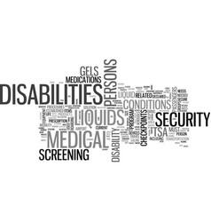 air travel disabilities and the tsa text word vector image vector image