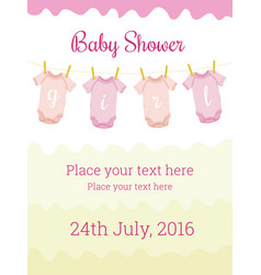 Baby shower invitation card template for baby girl vector