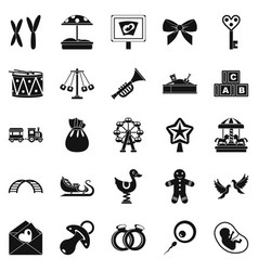 bairn icons set simple style vector image