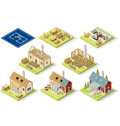 Cement and brick wall isometric building vector