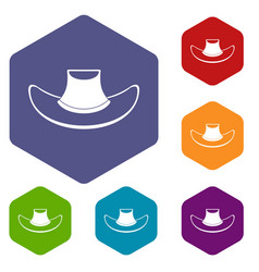 Cowboy hat icons set hexagon vector
