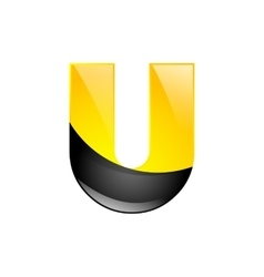 Creative yellow and black symbol letter u for your vector
