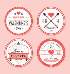cute pink valentines day and romantic badges set vector image vector image