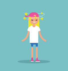Dizziness conceptual young blond girl with stars vector