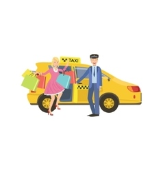 Driver Opening The Door For Woman With Many vector image