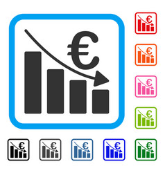 Euro recession bar chart framed icon vector