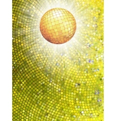 Gold disco ball on burst with mosaic detail EPS 8 vector image