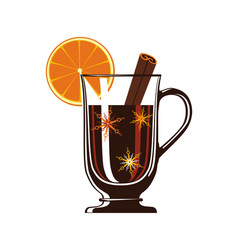 Mulled wine with spices isolated icon vector