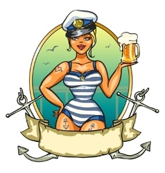 Pin up sailor girl with cold beer vector