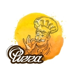 pizza logo design template cook chef or vector image