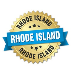 Rhode island round golden badge with blue ribbon vector