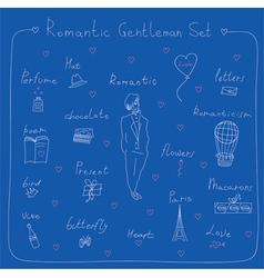 Romantic gentleman set vector