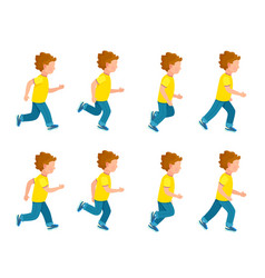 running boy animation sprite set 8 frame loop vector image