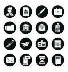 Set of black silhouettes of business icons in vector