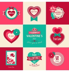 Set of Valentines day typographical backgrounds vector image
